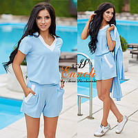 Костюм тм Enneli размер S M L ткань креп-костюмка летняя цвет голубой и белый.