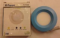 Светодиодная панель Feron AL525 3W 5000K (корпус синий)