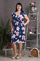 Летнее платье Сабрина с розовыми цветами