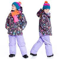 Зимний комплект для девочки от 2 до 6 лет (куртка, полукомбинезон) ТМ Deux par Deux Сиреневый B803-521