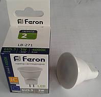 Светодиодная лампа Feron LB-271 220V G4 (MR11) 3W 4000К (белый нейтральный), фото 1