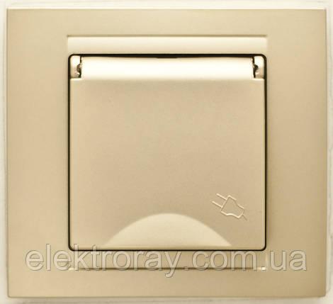Розетка с заземлением и крышкой Gunsan Moderna Metallic золото, фото 2