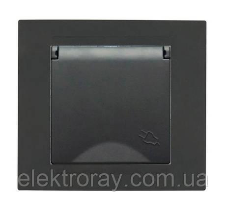 Розетка с заземлением и крышкой Gunsan Moderna Metallic черный, фото 2