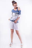 Стильная комплект женская футболка с принтом + майка, спущенный рукав под джинс