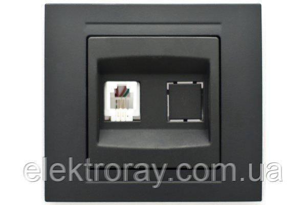 Розетка телефонная RJ11 Gunsan Moderna Metallic черный
