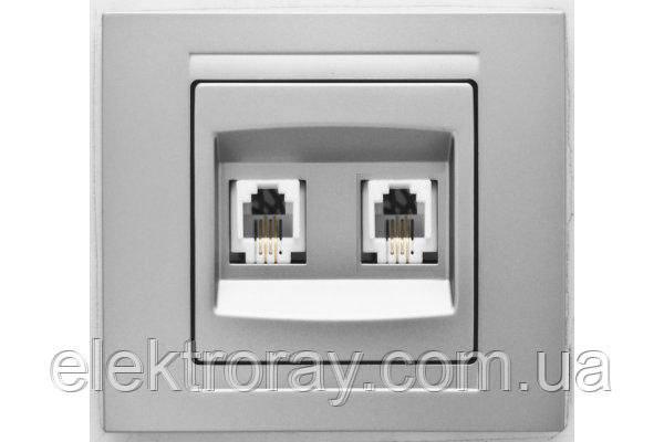 Розетка телефонная двойная (2x RJ11) Gunsan Moderna Metallic серебро, фото 2
