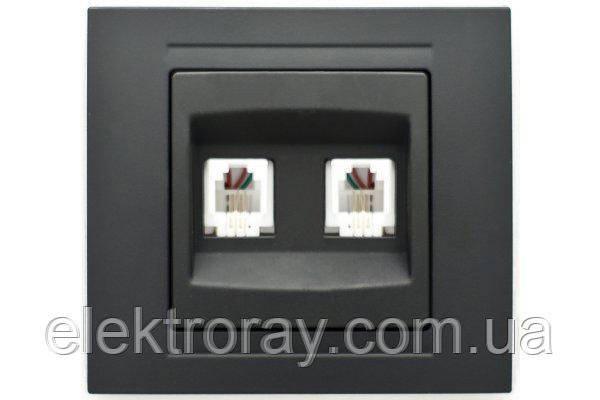 Розетка телефонная двойная (2x RJ11) Gunsan Moderna Metallic черный, фото 2