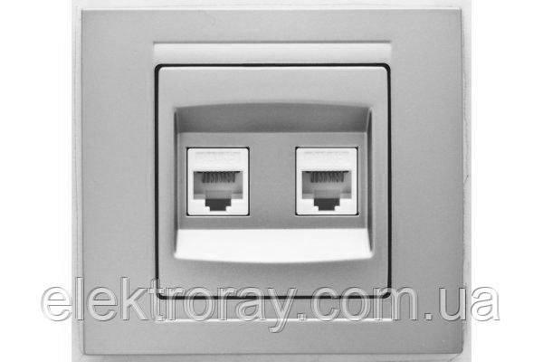 Розетка компьютерная двойная 2 x CAT5 Gunsan Moderna Metallic серебро, фото 2