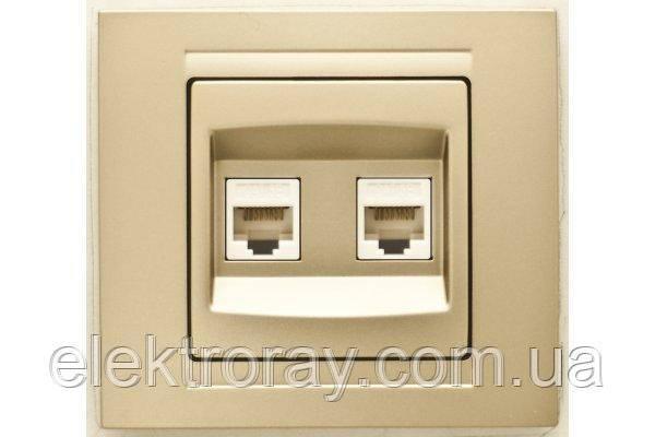 Розетка компьютерная двойная 2 x CAT5 Gunsan Moderna Metallic золото, фото 2
