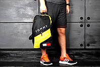 Рюкзак городской спортивный, для ноутбука, мужской, женский, черный+желтый