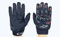 Мото-перчатки текстильные с закрытыми пальцами и протектором Alpinestars