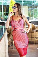 Стильное платье с сеткой (красное)