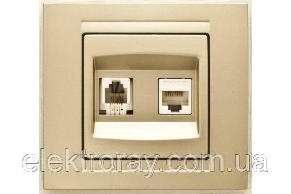 Розетка компьютерная + телефонная CAT5 x RJ11 Gunsan Moderna Metallic золото