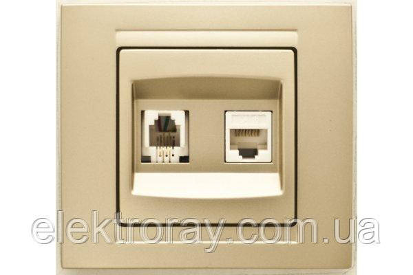 Розетка компьютерная + телефонная CAT5 x RJ11 Gunsan Moderna Metallic золото, фото 2