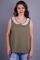 Аделина. Женская блуза на каждый день плюс сайз. Хаки., фото 1