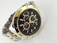 Мужские часы ROLEX - в стиле TAG, стальной браслет, черный циферблат, фото 1