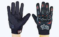 Мото-перчатки текстильные с закрытыми пальцами и протектором Fox