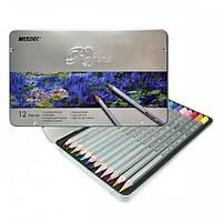 Набор цветных карандашей Marco Raffine 12 цветов металлический пенал