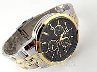 Мужские часы ROLEX - в стиле Tissot, стальной браслет, черный циферблат