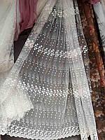Тюль фатин с вышивкой .Цвет айвери (молочный) .Оптом и на метраж .Высота 2.8м.
