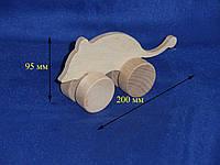 Фигурка деревянная Мышка на колесиках 7.182