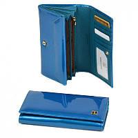 Голубой кошелек GoldW412l-blue женский на кнопке в лаковой коже