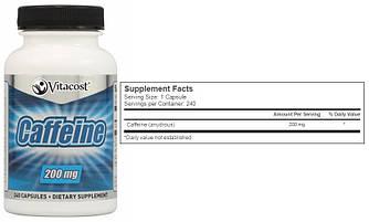 Vitacost, Кофеин, 200 мг, 240 капсул