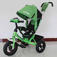 Детский трехколесный велосипед Tilly Camaro T-362, фара, большой капюшон, родительская ручка, багажник, зелены