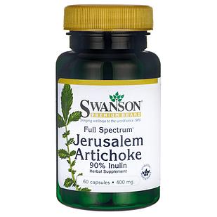 Swanson Premium Full Spectrum Jerusalem Artichoke Топинамбур 90% инулина 400 мг 60 капс