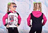 Кофта для девочки с капюшоном на молнии двунитка с принтами