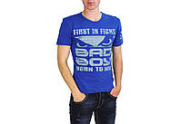 Синяя мужская футболка с надписями BAD BOY на лето