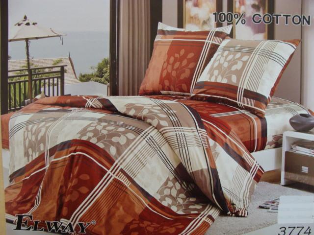Сатиновое постельное белье полуторное ELWAY 3774