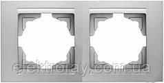 Рамка 2-местная горизонтальная Gunsan Moderna Metallic серебро