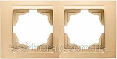 Рамка 2-местная горизонтальная Gunsan Moderna Metallic золото