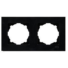 Рамка 2-местная горизонтальная Gunsan Moderna Metallic черная