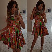 Платье №3048Г (р-р. 42-44) атлас. Рисунок в ассортименте