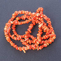 """Бусины натуральный камень на нитке Коралл оранж """"каменная крошка """" L-85см d-6мм(+-)"""