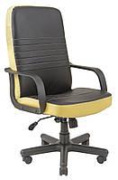 Кресло Приус Пластик, кожзам комбинированный Пиастра, черный с бежевым