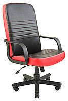 Кресло Приус Пластик, кожзам комбинированный Пиастра, черный с красным