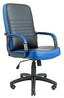 Кресло Приус Пластик, кожзам комбинированный Пиастра, черный с синим