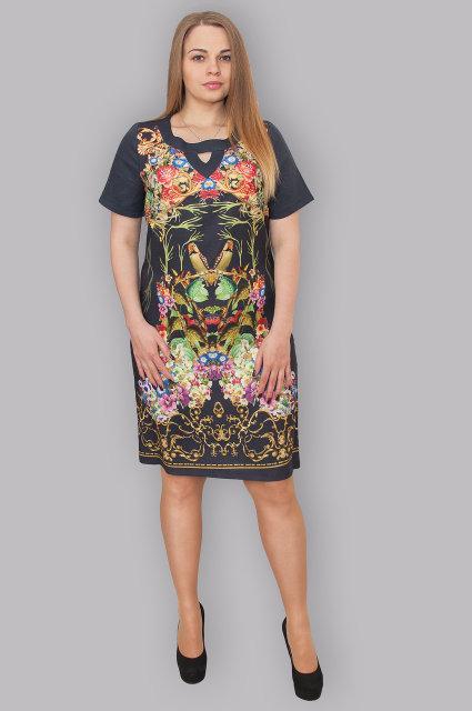 Модное яркое женское платье миди из льна, большие размеры