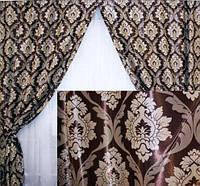 Ткань для штор  блэкаут  Корона венге+молочный