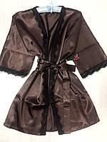 Одежда для дома , атласный халат с кружевом