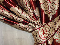 Ткань для штор  блэкаут  Корона двусторонняя бордо+золото