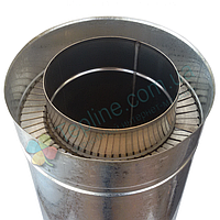 Труба-сэндвич для дымохода d 130 мм; 0,8 мм; AISI 304; 1 метр; нержавейка/оцинковка - «Версия-Люкс»