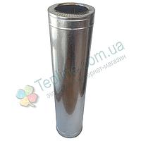 Труба-сэндвич для дымохода d 140 мм; 1 мм; AISI 304; 1 метр; нержавейка/оцинковка - «Версия-Люкс»
