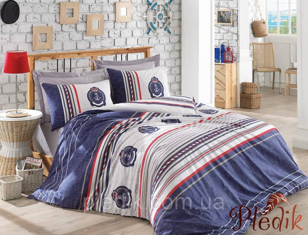 Двуспальное постельное бельё 200х220 Cotton box Ранфорс ARMA LACIVERT