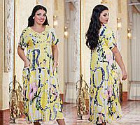 Платье батальное №3069Г (р-р.50-56 )штапель жатка.Цвета в ассортименте.