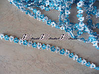 Тесьма цветочная голубая с белым ширина 13 мм