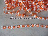 Тесьма цветочная оранжевая с белым ширина 13 мм